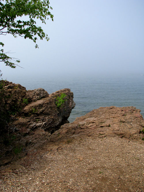 Presque Isle day of Mist with Rock, photo by Kim Nixon