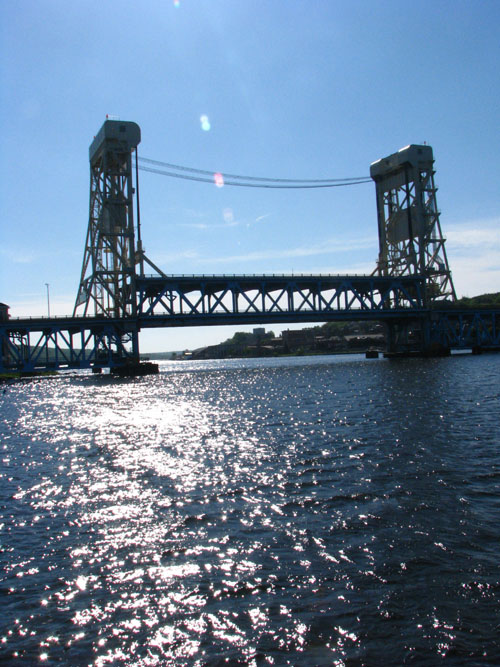 Portage Lift Bridge before 10am, Friday the 13th, June 2008, photo by Kim Nixon