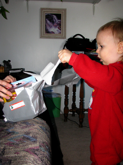 Grandson Liam Opening Presents