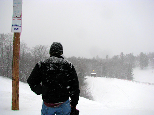 Mike Looks Out at the Ridge and Snow Tubers, photo by Kim Nixon