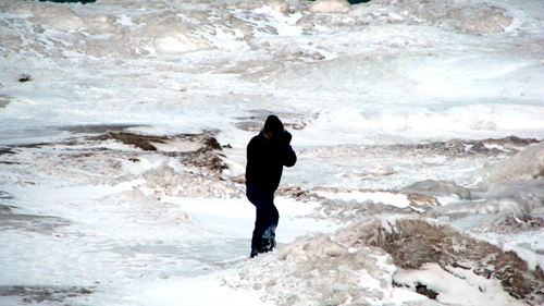 Mike on Ice, Lake Superior at Mcarty's Cove, photo copyright Kim Nixon